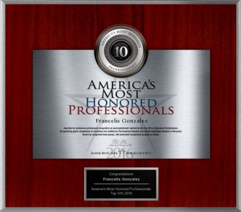 2016 America's Most Honored Professionals Award